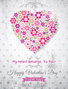 Grey background with valentine heart of spring flowers vector Stock Image