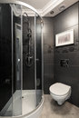 Grey bathroom with chrome accents Royalty Free Stock Photo