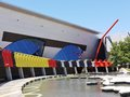 Grey black white and yellow red blue the colorful national museum of australia on the acton peninsula in the capital canberra Royalty Free Stock Photo