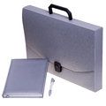 Grey briefcase with accessories notebook and pen isolated on white background Stock Photography