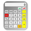 Grey calculator one colorful isolated in white background Stock Photo