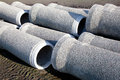Grey concrete pipes waiting Royalty Free Stock Image