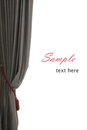 Single grey curtain with red buckle, white background, sample text, like an opera stage Royalty Free Stock Photo