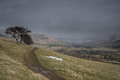 Grey day winter in hope valley near edale Royalty Free Stock Photo