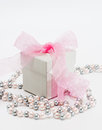 Grey gift box with pink ribbon Stock Image