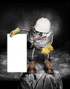 Grey gray ball duck tape hard hat work gloves worn work boots concrete textured background holding white sign concept construction Stock Images