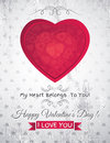 Grey grunge background with red valentine heart a and wishes text vector illustration Stock Photography