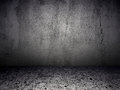 Grey grunge textured room illustration of gray floor and wall Stock Image