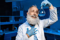 Grey haired scientist in lab coat holding flask with reagent Royalty Free Stock Photo