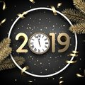 Grey 2019 happy New Year card with gold clock and fir.