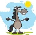 Grey horse cartoon mascot character med öppna armar över landskap Royaltyfri Foto