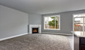 Grey house interior of living room with firwplace and carpet floor. Royalty Free Stock Photo