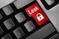 Grey keyboard red enter button lock symbol leak Royalty Free Stock Photo