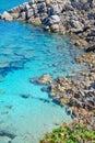 Grey rocks in capo testa clear water sardinia Stock Photography