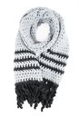 Grey scarf of handwork knitted by a hook on a white background isolated Royalty Free Stock Photography