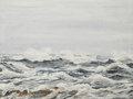 Grey sea waves oil painting illustrating agitated on a cloudy day Stock Images
