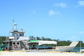 Grey ship used local transport islands palau micronesia Royalty Free Stock Photos