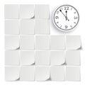 Grey Stickers Full White Board Clock Royalty Free Stock Photo
