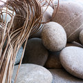 Grey stones dried herbs wallpaper Stock Photography