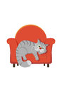 Grey tabby cat lying on a chair fat Stock Image
