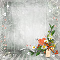 Grey textured background vintage with flowers. Stock Photography