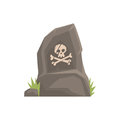 Grey tombstone with skull and bones vector Illustration