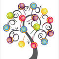 Grey tree with colorful delicious lollipop Stock Image