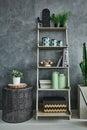 Grey wall stucco and bookshelf Royalty Free Stock Photo