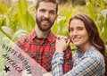 Grey and white fourth of July graphic against couple in cornfield Royalty Free Stock Photo