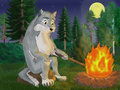 Grey wolf illustration of at a fire Stock Image