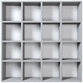 Grey wooden shelves with empty racks isolated on white background Stock Photos