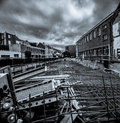 Greyscale image of city reconstruction Royalty Free Stock Photo