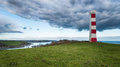 Gribbin head daymark storm clouds gather over the lighthouse on near st austell in cornwall Stock Photos