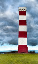 Gribbin head daymark storm clouds gather over the lighthouse on near st austell in cornwall Stock Photography