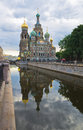 Griboedov channel in st petersburg church of the savior on spilled blood cathedral of the resurrection of christ over early Royalty Free Stock Photo
