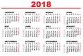 Grid calendar for 2018
