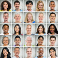 Grid of Close Ups of Smiling People Royalty Free Stock Photo
