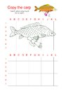 Grid copy puzzle - the picture of fish carp with bag. Royalty Free Stock Photo