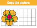 Grid copy worksheet. educational children game. Printable Kids activity sheet with flower. Copy the picture