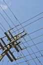 Grid of power lines on pole Stock Photography