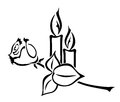 Grief illustration of two candles and a rose Royalty Free Stock Photography