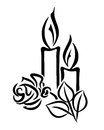 Grief illustration of two candles and a rose Stock Image