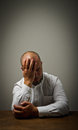 Grief man in thoughts expressions feelings and moods Royalty Free Stock Photos