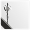 Grief monochrome illustration of a rose on a cross with ribbon Stock Photo