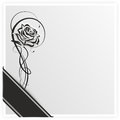 Grief monochrome illustration of a rose with ribbon Royalty Free Stock Image