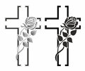 Grief set with two grave crosses with winding rose Stock Photography