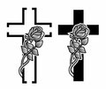 Grief set with two grave crosses with winding rose Royalty Free Stock Photo