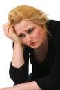 Grieving blonde woman
