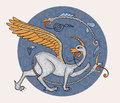 Griffin fantasy monster creature medieval style illustration circle decorative composition Stock Photo