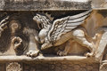 Griffin sculptures winged mythical creature at didyma turkey Royalty Free Stock Photos